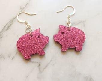 Pig Dangles, Pig Earrings, Piggy Earrings, Piggy Earrings, Jewellery, Dangle Earrings, Pig, Piggy, Pink Pig, Pink Glitter Pig, Pink Glitter