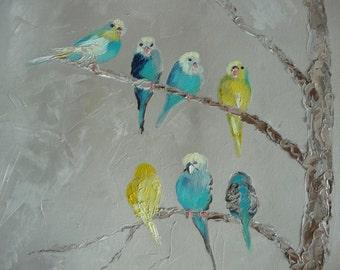 "Nine Little Birds // by Mandie Aberra // Original Oil Painting // 15"" x 30"" // Canvas Art"