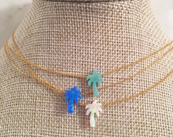 Opal Palm Tree Necklace in White or Green on Sterling Silver or Gold Filled Chain, Palm Tree Jewelry