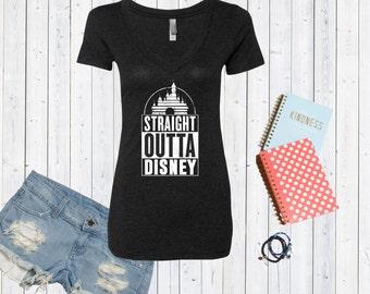 Straight Outta Disney Inspired V neck Tshirt / Valentines Day Tshirt / Disneyland Tee [E0117,E0211]
