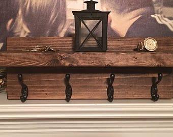 Rustic coat rack shelf