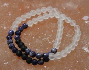 Dark Purple Kiwi Stone, Clear Crystal and Lava Diffuser Bracelet