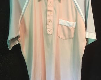 Hipster vintage Palmland golf shirt pink and gray wjth white polyester cotton blend shirt size large