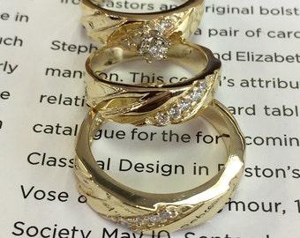 14k yellow gold wedding Trio set