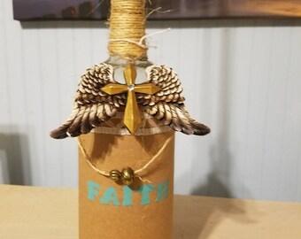 Hemp wrapped wine bottle candle holders.