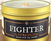 FIGHTER Book/Fantasy/RPG-Inspired Wood Wick Soy Candle in 4oz, 6oz, or 8oz Gold Tin: artisan geek, gamer, or book-lover gift