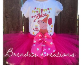 Peppa pig tutu, peppa pig birthday outfit, peppa pig birthday shirt, peppa pig outfit, Peppa Pig Birthday Tutu, Peppa Pig customized Shirt