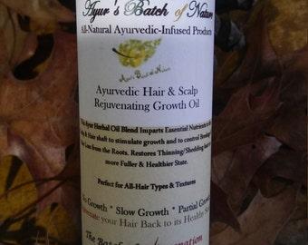 4oz Hair & Scalp Rejuvenating Growth Oil,For Scalp Psoriasis,Dandruff, Bald Spots,Ayurvedic Hair Oil, Scalp Oil with Neem, Amla, Bhringraj,