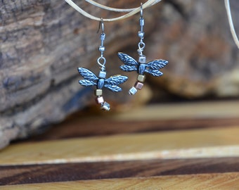 Dragonfly and Square Bead Dangle Earrings