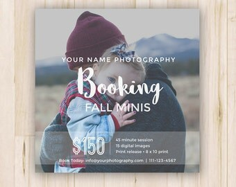 Booking Ad - Fall Mini Sessions - Photoshop Template *INSTANT DOWNLOAD*