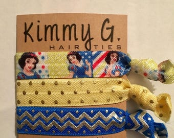 Snow White elastic. FOE, snow shots hair ties, party favors, kids hair ties, Disney princess hair ties and accessories, Princess party