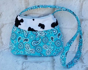 Blue paisley shoulder bag - Cow print bag - Shoulder bag - Tote bag - Handmade bag - Blue shoulder bag - Hippie bag - Tote handbag