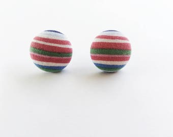 Stripes Fabric Button Earrings