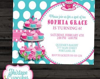Tea and Cupcakes Birthday Invitation - Tea Birthday Invitation - Pink Turquoise Cupcake Girls Party  - Printable Digital Invitation