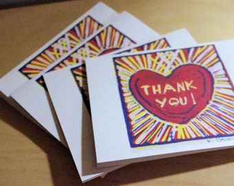 From the Heart Thank You Cards Original Design from Block Print