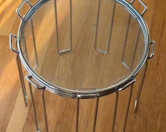 Vintage Saporiti Chrome and Glass Nesting Side Tables - circa 1960s