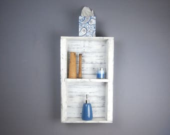 Handcrafted Wooden Bathroom Shelf – Nantucket White Bathroom Wall Shelf–White Over the Toilet Bathroom Storage–3 Shelf Bathroom Space Saver