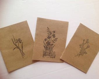 Earth-Tone Black Hand-Stamped Greeting Card Set