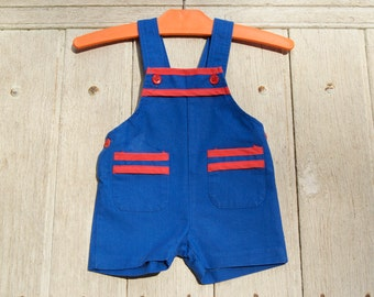 Vintage 70's 80's / baby / bib shorts / mark 3 apples / made in France / blue and Red