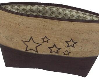 LeKo-design - Cork fabric cosmetic bag Brown & nature, embroidery star