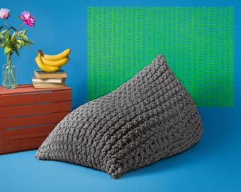 Grey knitted bean bag cover