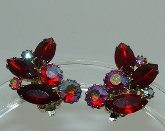 Vintage WEISS AB Ruby Red Rhinestone Earrings Signed Aurora Borealis Clip On