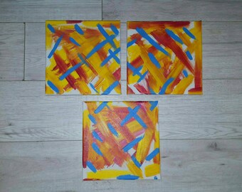 Original Abstract Painting, acrylic   Painting, hand painted canvas, small 3 abstract painting, 8x8inch each