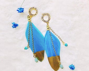 Skyblue Feather Thread Earrings