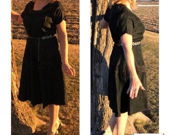 Vintage 1940s Black Silk Dress, Medium to Large Size