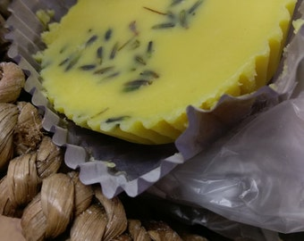 Lavender hard lotion moisturising bar, beeswax, shea butter, coconut oil and almond oil