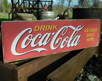 """Distressed Primitive Country Wood Sign - Coca Cola  7.25"""" x 24"""""""