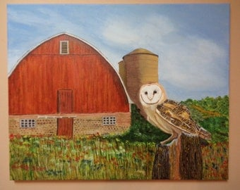Owl in front of a Barn