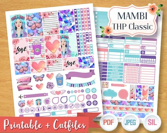 Purple Dreamy Girl Weekly Planner Stickers Digital Planner Kit Sticker Planner Girl Pastel Weekly Set Planner Mambi Happy Planner Classic