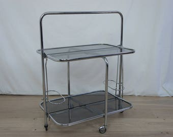 Mid Century Chrome and Smoked Glass Drinks Trolley