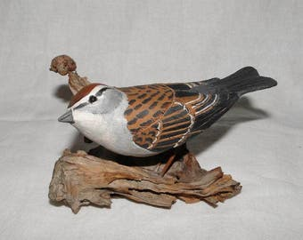 Vintage Signed Hand Carved Chipping Sparrow