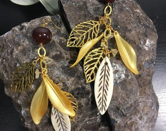 Burgundy Cascading Cluster Leaf Earrings | Citrine Gold Plated Chain and Charms | Lucite Nature Leaves | Unique Dangle Drop Jewelry