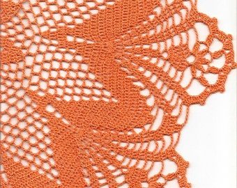 Large Lace Crochet Doily Orange Handmade Cotton Handcrafted Round Doilies Crocheted Centrepiece Lacy Home Decor Wedding Decorative Bohemian