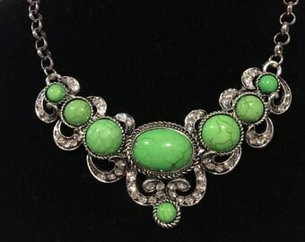 Green Howlite Austrian Crystal Bib Necklace