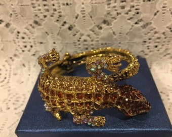Austrian Crystal Alligator Cuff Bracelet