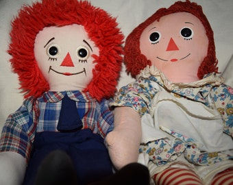 Vintage Raggedy Ann and Andy 1990s 1960s Kickerbocker Applause dolls