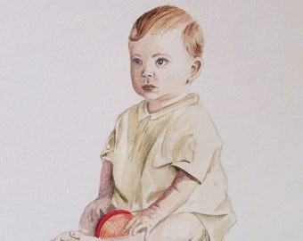 "Commissioned Portraits of Children, Two 8""x10"" Watercolor Paintings"