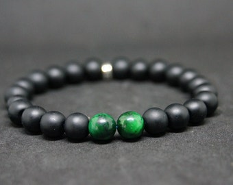 """Bracelet series Simply the """"GreenYxTiger"""" matte Onyx and Green Tiger eye Beads"""