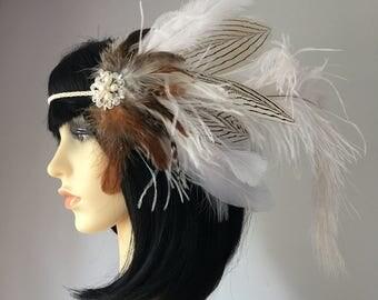 White & Natural Feather Beaded Headband Headdress Bridal Beach Wedding Festival Wear