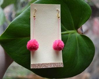 Hot Pink Pom Pom earrings