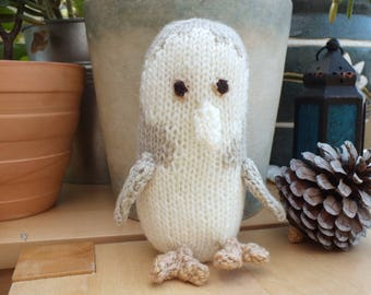 White Owl, Hand Knitted Animals, Small Stuffed Soft Toys, Birthday Gift