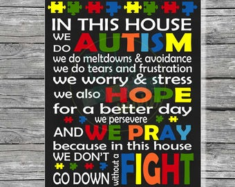 Autism In This House We Fight Quote Digital Poster, Printable Poster, Home Decor, Print, Instant Download, In This House We Do Autism