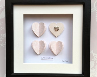 Small Blush Wedding, Wedding Hearts 3D Wall Art, Blush Wedding Picture, Gift for Bride, Gift for Newlyweds, Wedding gift for the couple