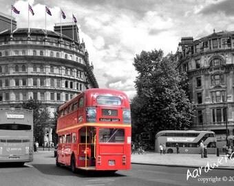 London Double Decker Bus Photography Print - unframed