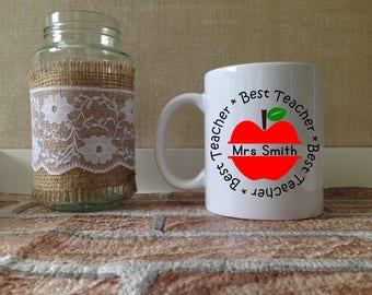 Best Teacher Personalised Mug - Teacher Gift Present - Tea Coffee Cup - End of term - Teacher Leaving - Thank you - Graduation - School