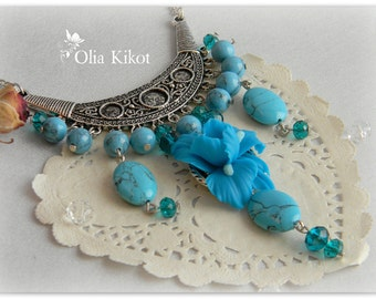A complete set is turquoise with Taffies, of vintage the refined decorations from polymeric clay